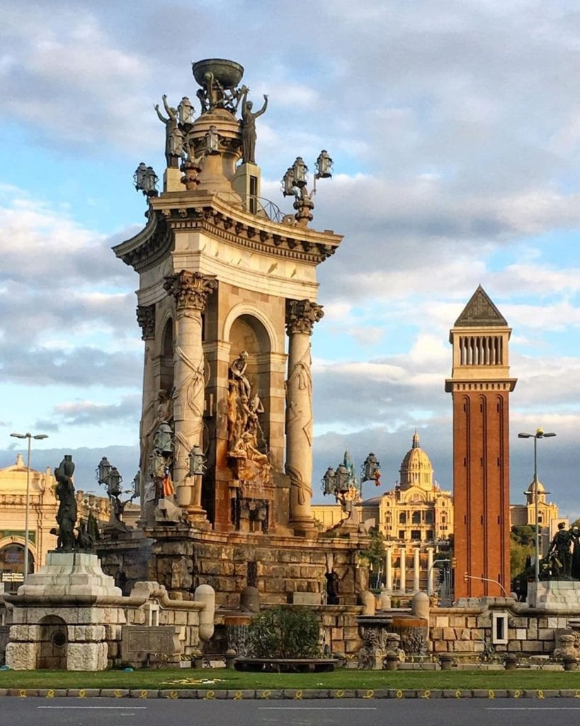 Monumental statue in Placa d'Espanya, one of the most beautiful places in Barcelona.