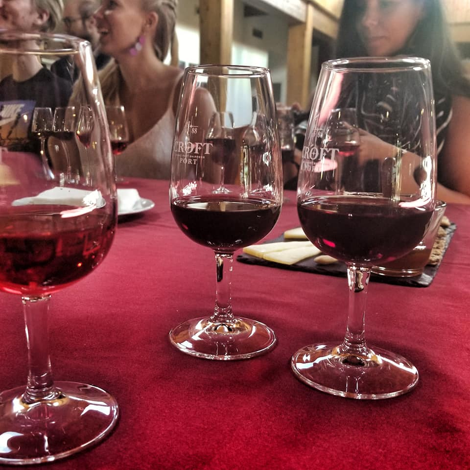 Glasses of Croft Port wine at a tasting in Portugal