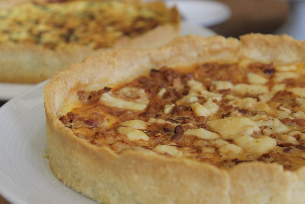 Close-up of quiche lorraine, one of France's most famous egg-based dishes.