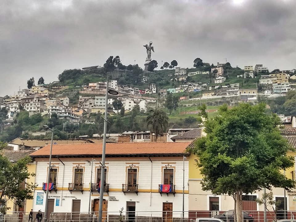 Angelic statue atop the city of Quito, Ecuador