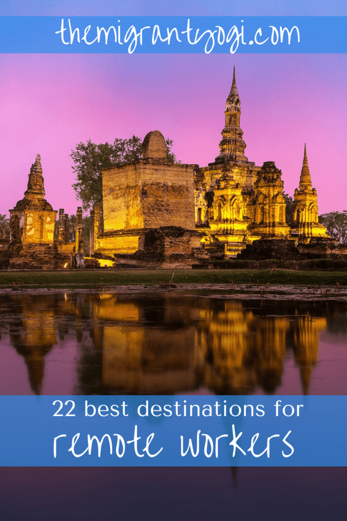 Pinterest graphic depicting Chiang Mai lit up at night with the text: 22 best destinations for remote workers, themigrantyogi.com.
