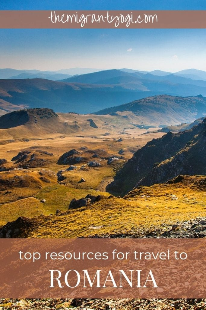 Pinterest graphic - text top resources for travel to Romania