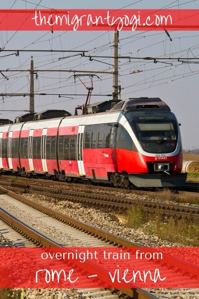 Pinterest graphic of train, Nightjet, overnight train from Rome to Vienna.