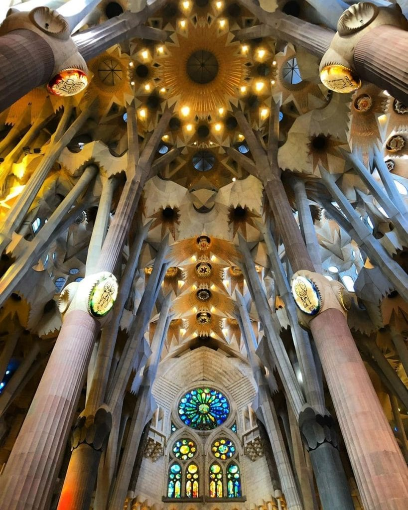Interior ceiling of Sagrada Familia, one of the most beautiful places in Barcelona.