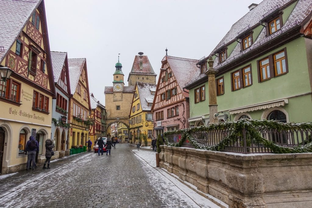 Snowy streets in Rothenburg ob der Tauer, Germany