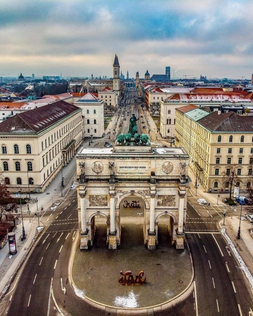 Siegestor in Munich, Germany as seen from above, one of the most instagrammable places in Munich.