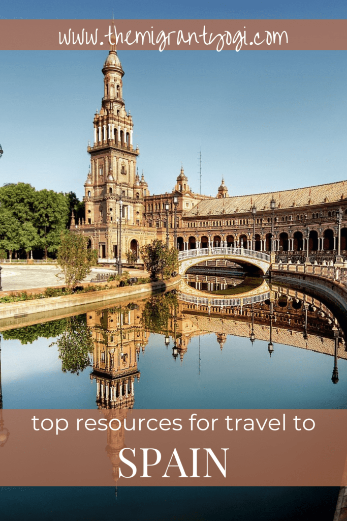 Pinterest graphic showing Seville, Spain with text 'Top Travel Resources for Spain'