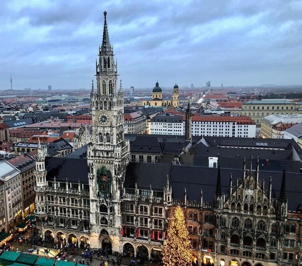 View from St. Peter's Church overlooking the roofs of Old town and Marienplatz in Munich, Germany.
