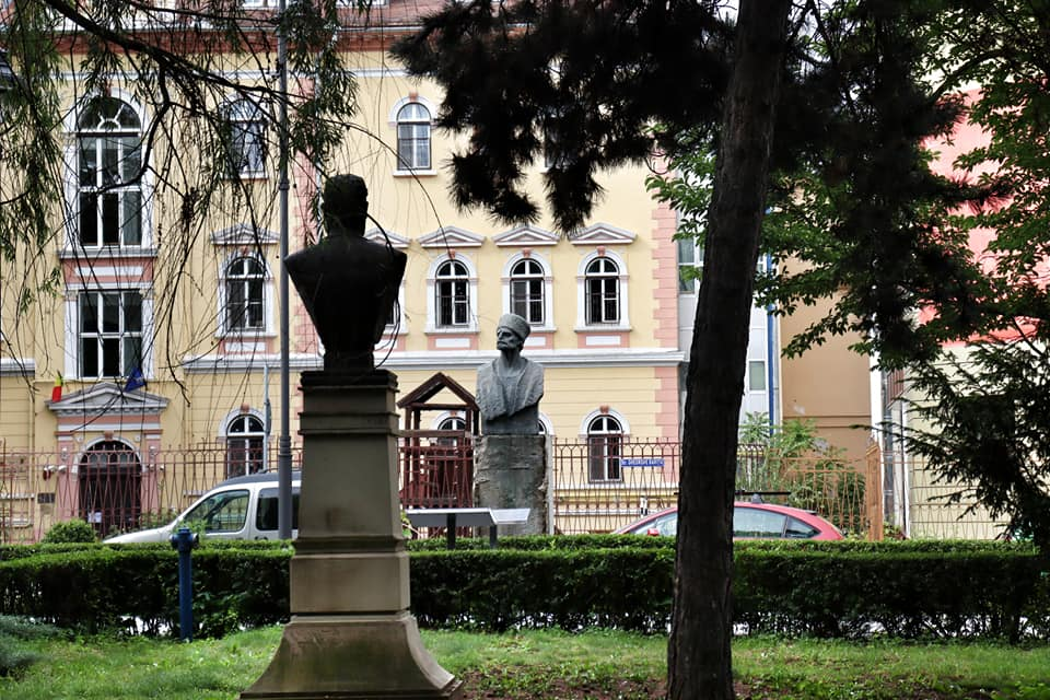 Two statue busts in a park in Sibiu, Romania