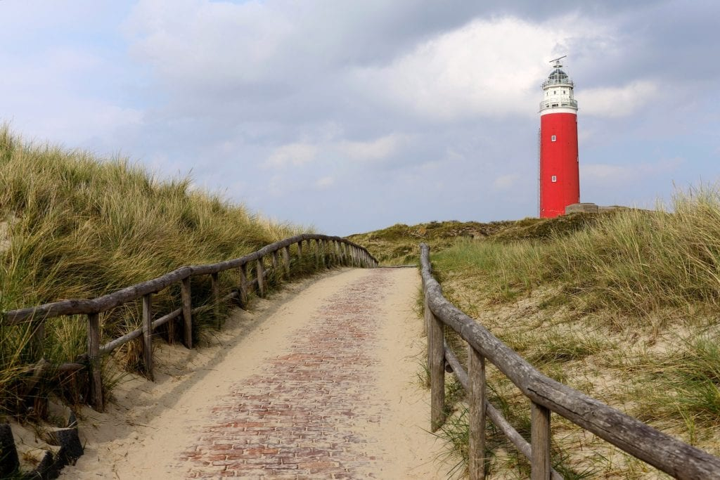 Sand dunes and beach grass on Texel Island in the Netherlands.