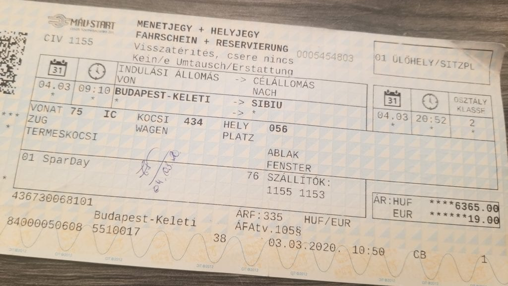 Close-up of actual ticket for the train from Budapest to Sibiu