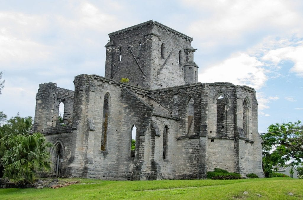 Unfinished Church in Bermuda, a beautiful abandoned building surrounded by green.