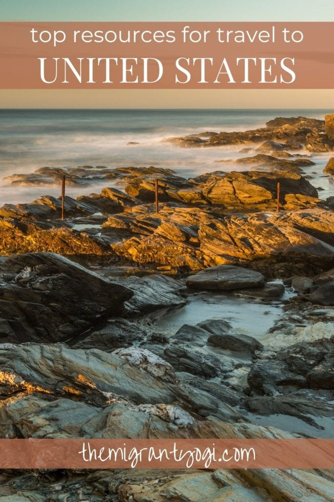 Pinterest graphic showing a rocky shoreline in the USA with text: Top Travel Resources for the United States.