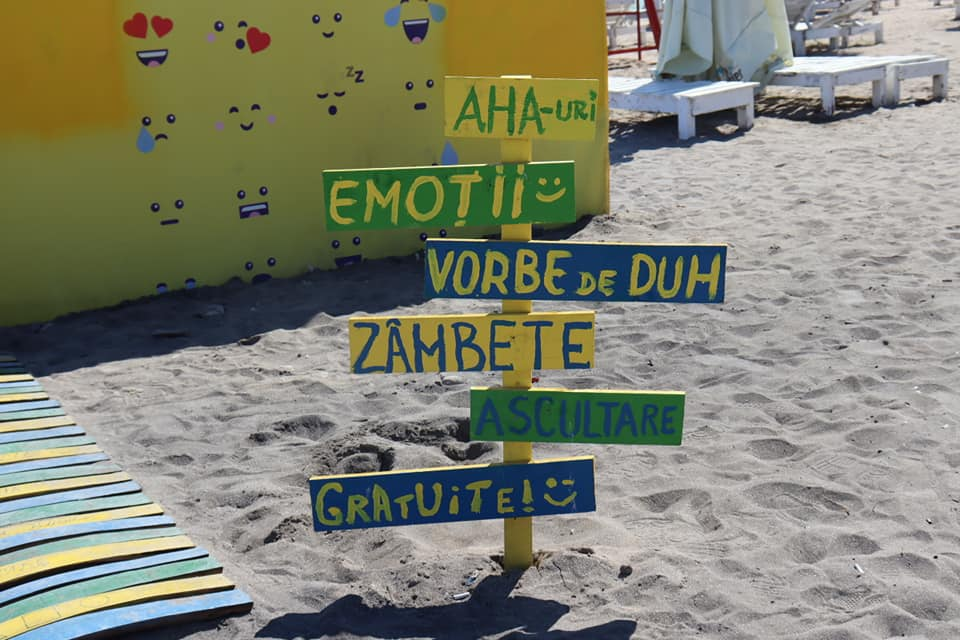 Colorful Romanian sign in Vama Veche.