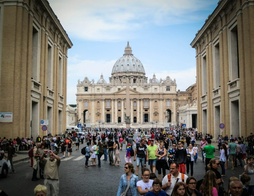 Crowds in front of St. Peter's Basilica, pick pocketers paradise.