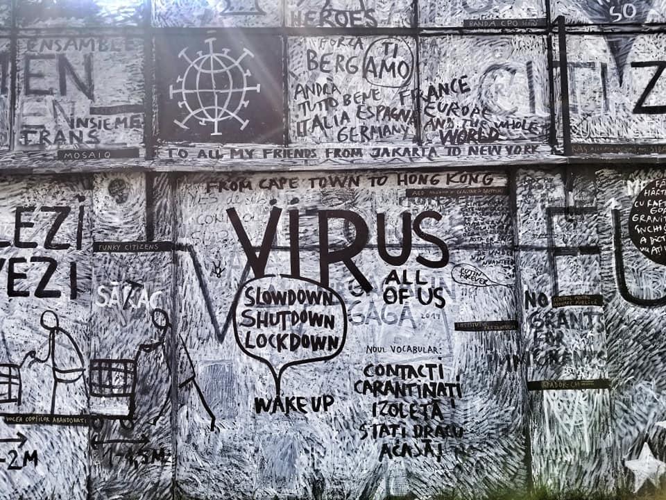 Graffiti wall in Sibiu, Romania regarding the virus