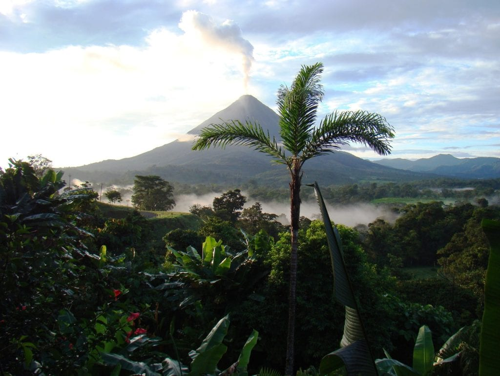 Palm trees and lush jungle sit in the foreground of the photo while an erupting volcano is seen behind in Costa Rica.