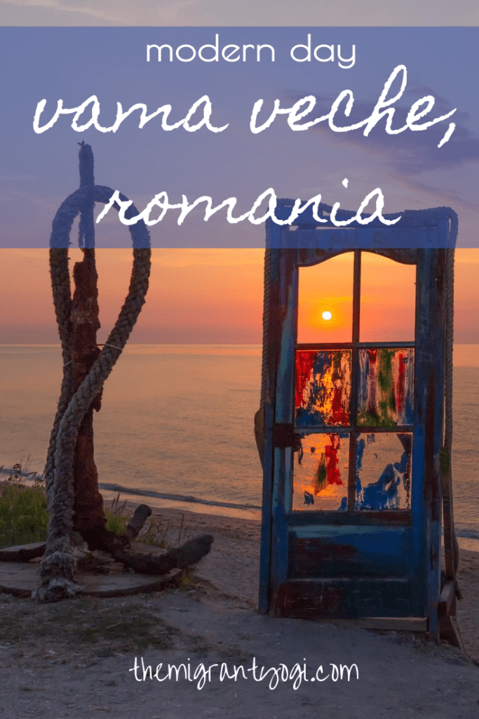 The 'door to Vama Veche' during sunrise with text: Modern Day Vama Veche, Romania (Pinterest Graphic)