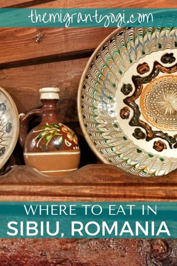 Pinterest graphic: Where to eat in Sibiu, Romania