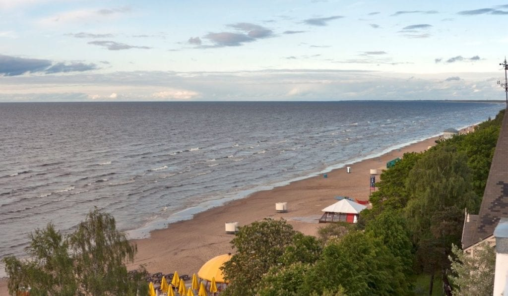 Aerial view of the Jurmala Coast, Latvia, one of the most underrated beach destinations in Europe.
