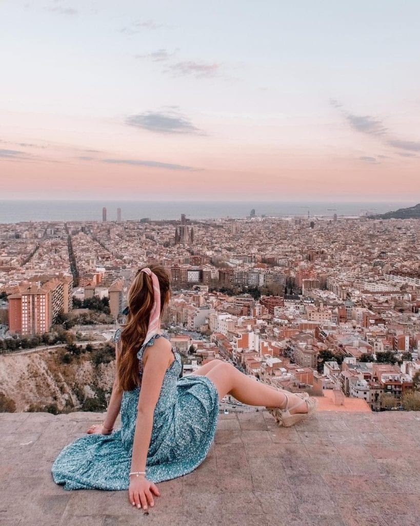 Panoramic views over Barcelona from Los Bunkers, one of the most beautiful places in Barcelona.