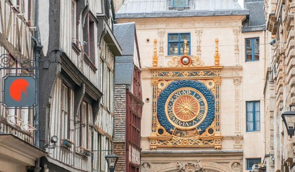 Rouen gros horloge clock tower,  a beautiful site in this small Normandy city.