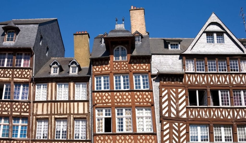 Timbered houses in Rennes, France, a fairytale town in France that is an easy day trip from Paris.