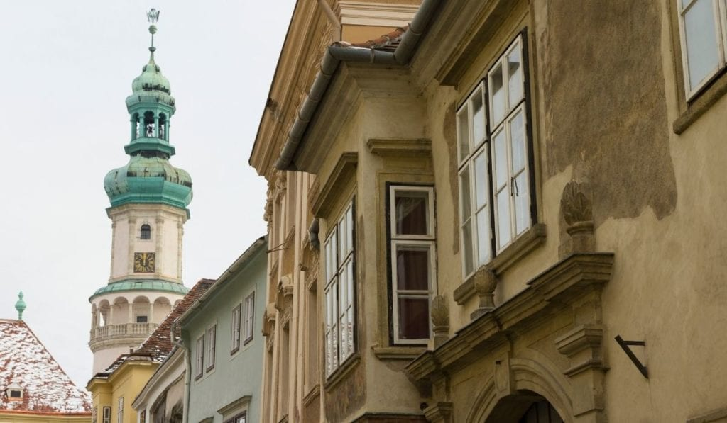 Architecture view of Sopron's most iconic building, an easy day trip from Bratislava.