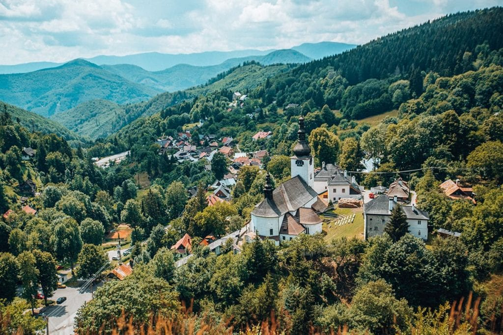 Gorgeous view from Spania Dolina in Slovakia, one of the best day trips from Bratislava.