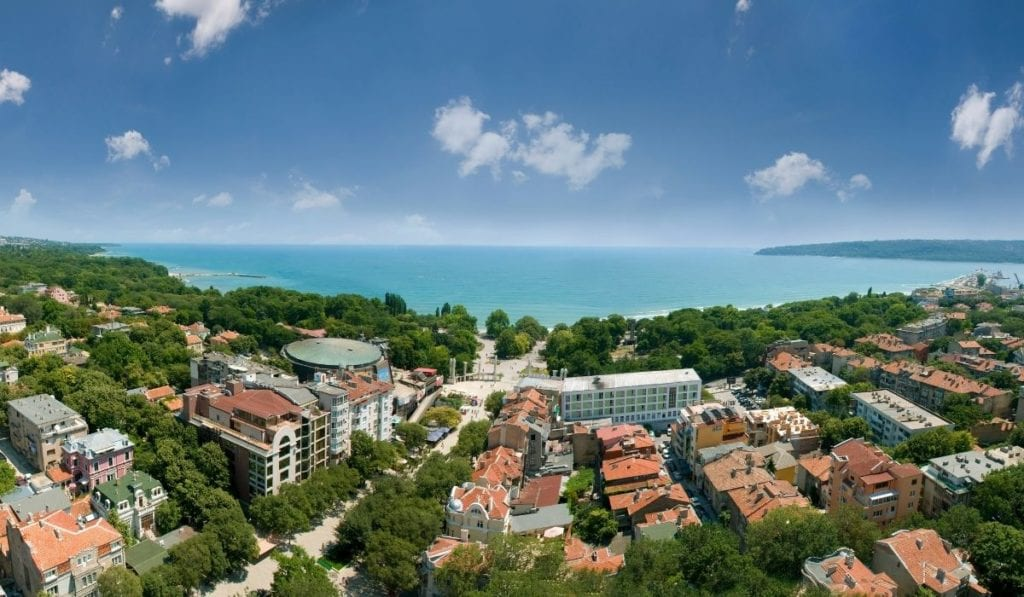 Panoramic view of red roofs surrounding the coastal town of Varna, Bulgaria, one of the most underrated beach destinations in Europe.