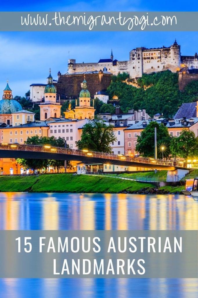 Famous Austrian Landmarks Pinterest Graphic with Salzburg City in background
