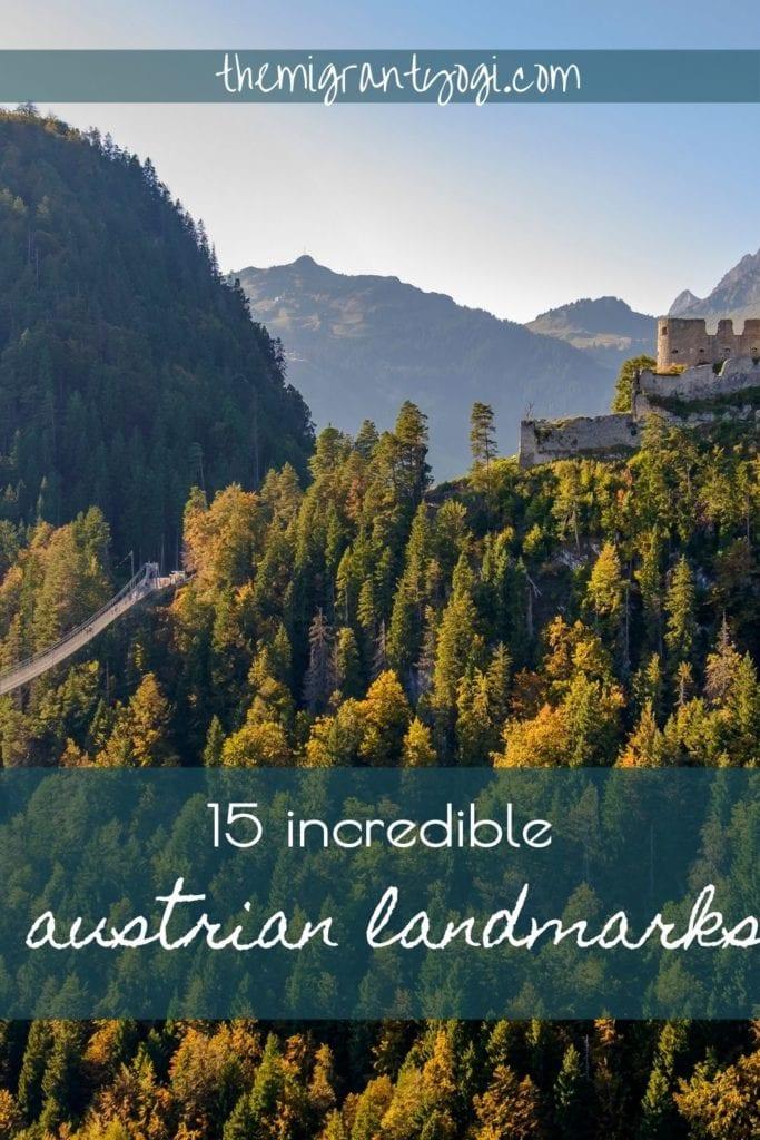 Austrian Landmarks Pinterest Graphic with Highline 179 in background.