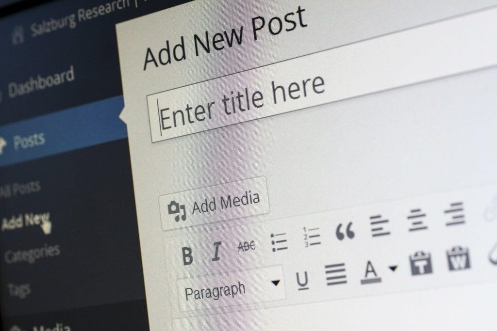 Screenshot of WordPress blog entry page shown at a diagonal.