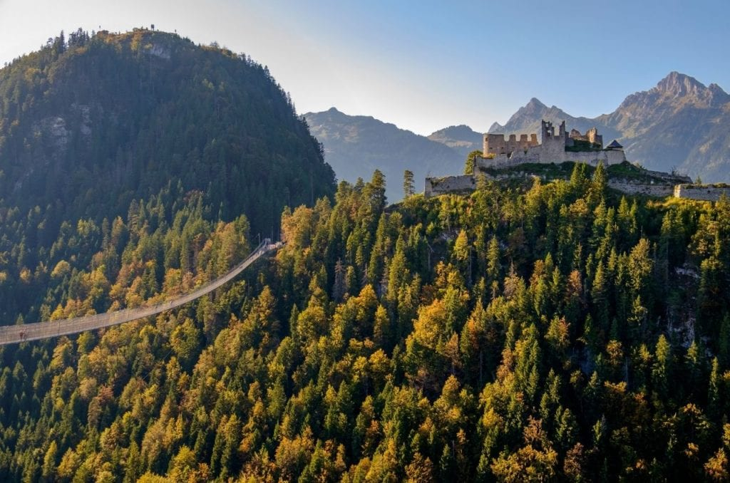 Highline 179, a suspended walkway stretching through the forested mountains of Austria.