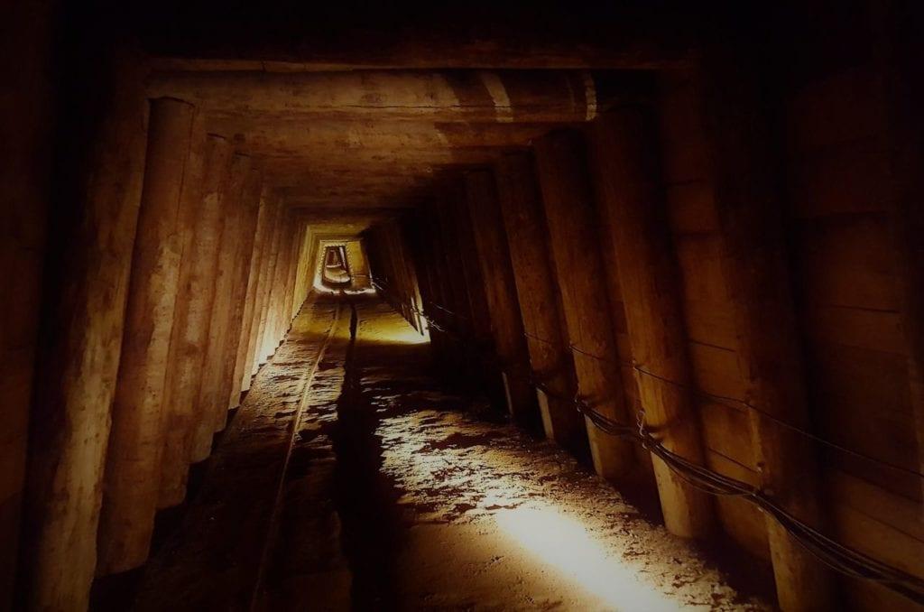 Abandoned salt mine shaft at the salt mine in Salzburg, Austria.