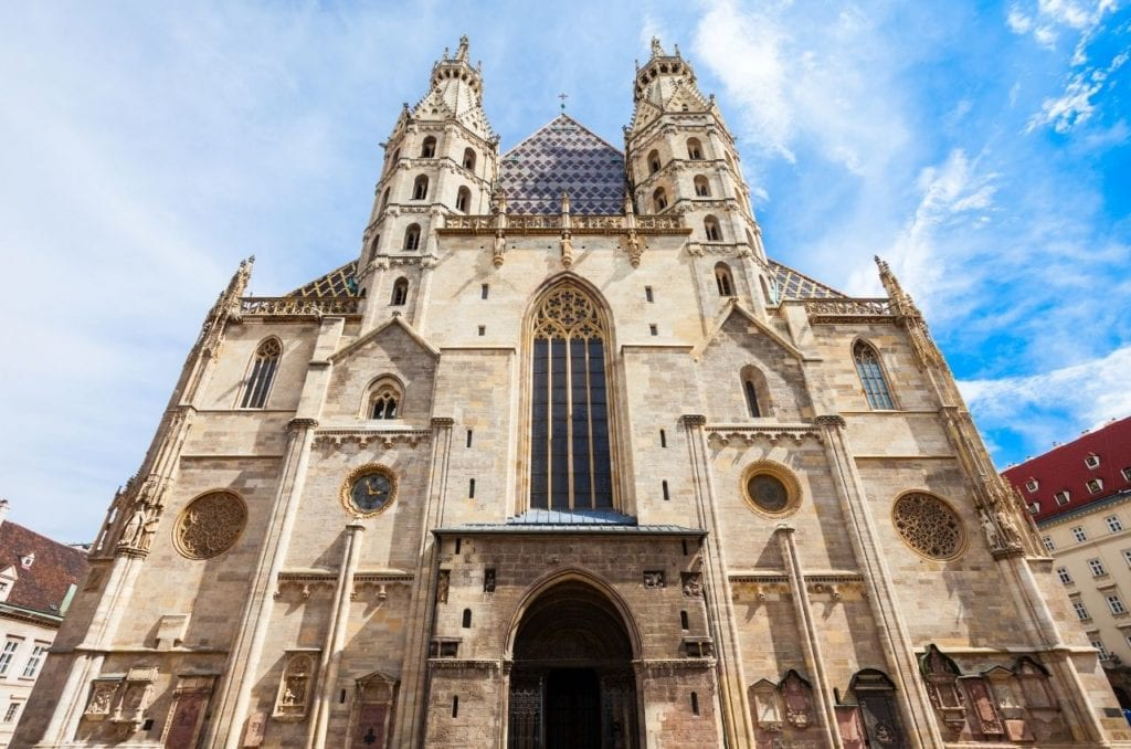 Entrance to St. Stephen's Cathedral in Vienna, one of Austria's most famous monuments.