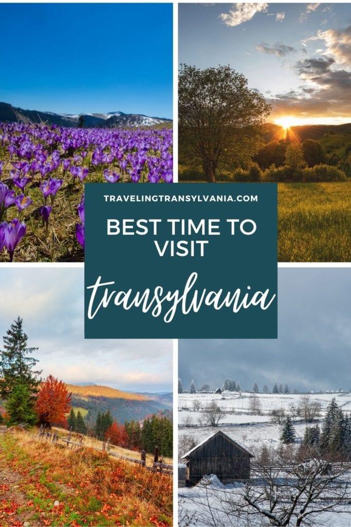Pinterest graphic - best time to visit Transylvania