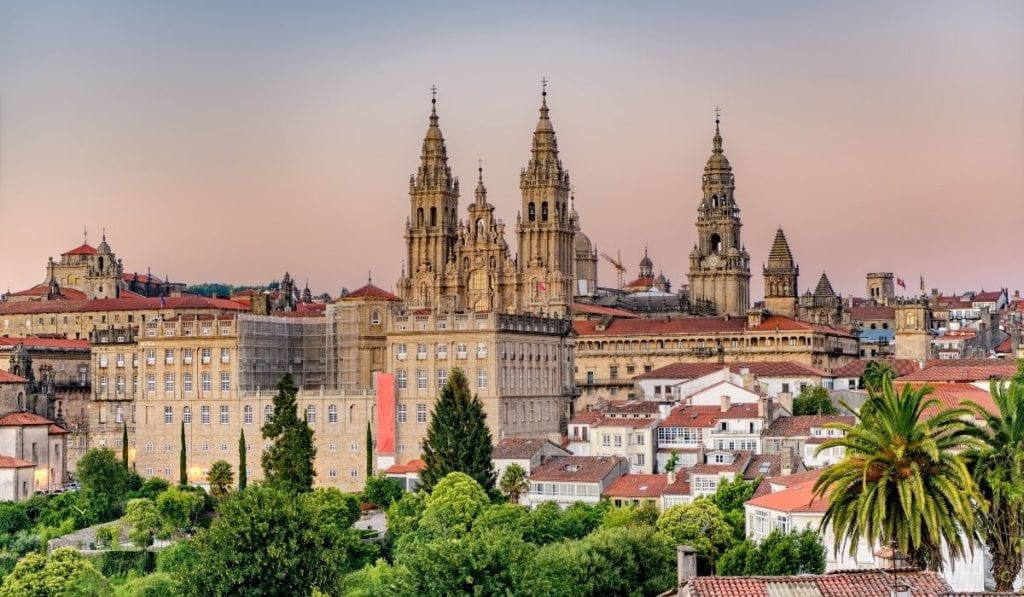 Iconic buildings of Santiago de Compostela in Spain, a doable day trip from Porto, Portugal.