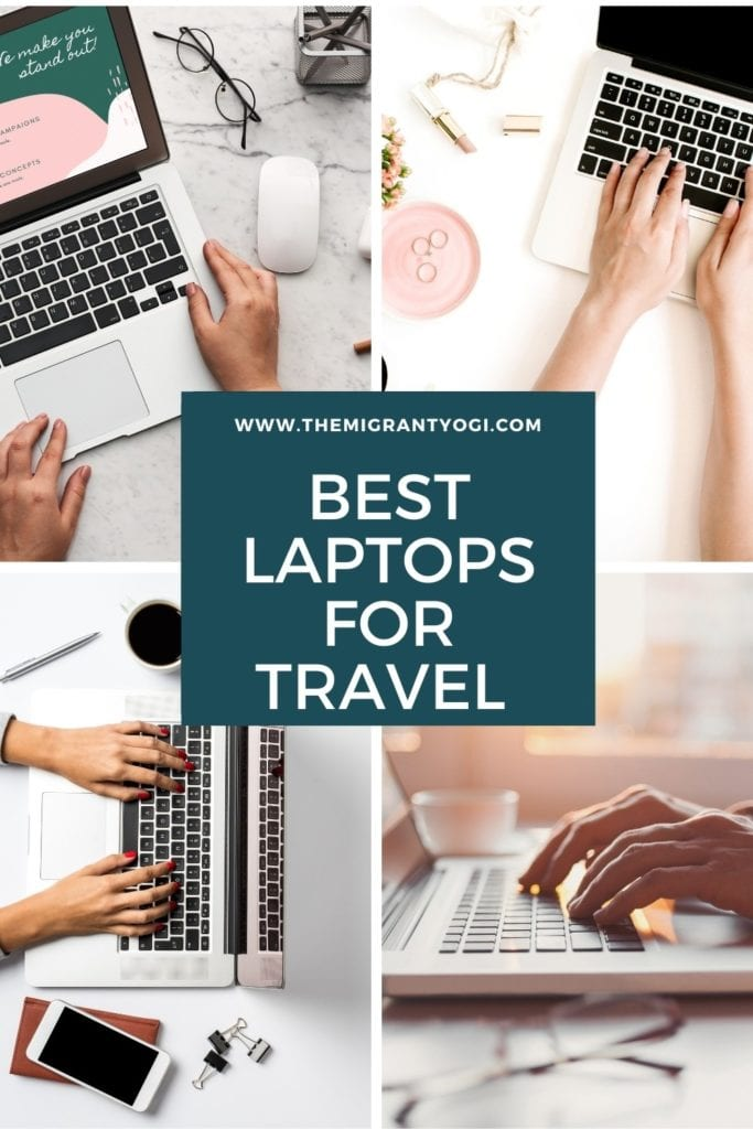 Pinterest graphic - 4 images of people using laptops with text: Best Laptops for Travel