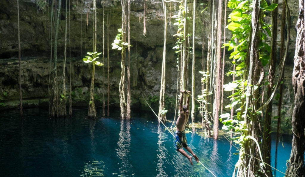 Long vines hanging into the blue waters of Cenote Oxman with man ziplining into the water.