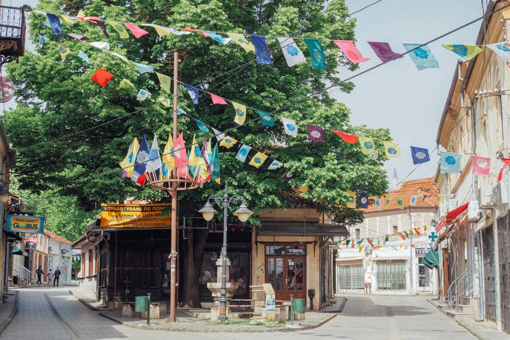 Colorful flags hanging over the streets of Bitola, North Macedonia - one of the most beautiful European cities.