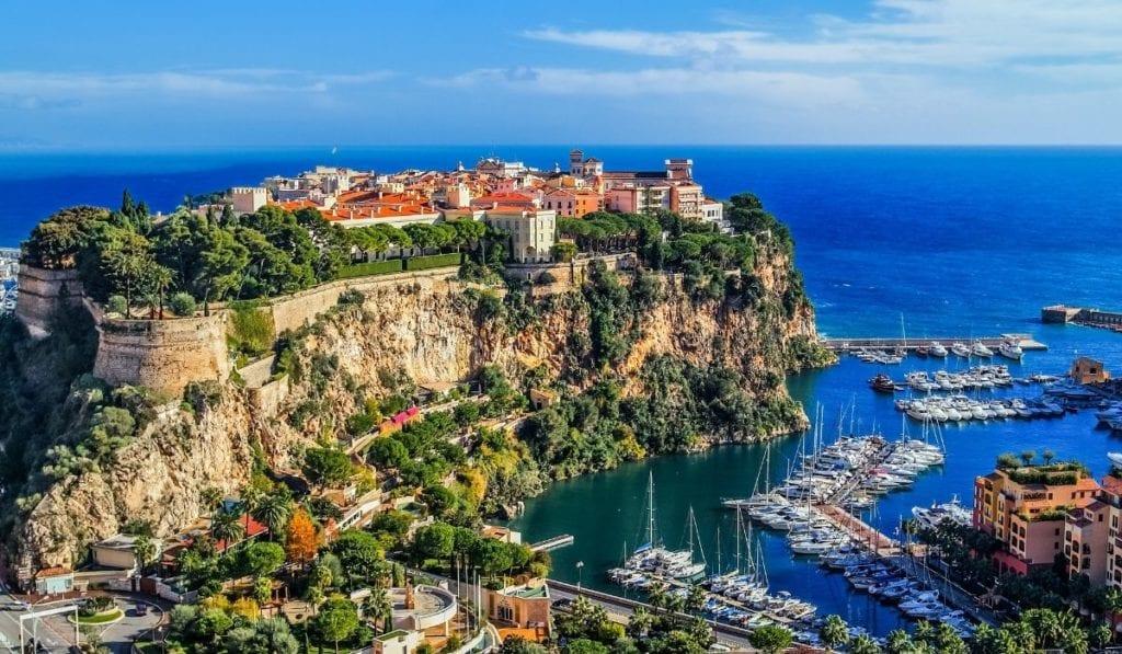 Monaco Bay and Monte Carlo, aerial view.