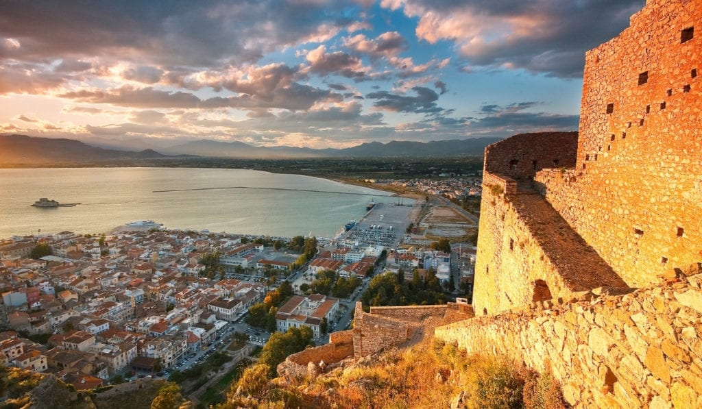 Overlooking the coastal city of Nafplio, Greece, one of the most beautiful cities in Europe.