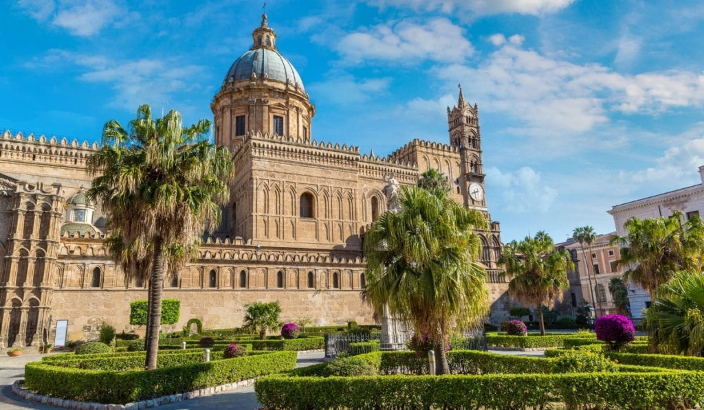 Palermo's beautiful architecture and palm trees, one of the most beautiful European cities.