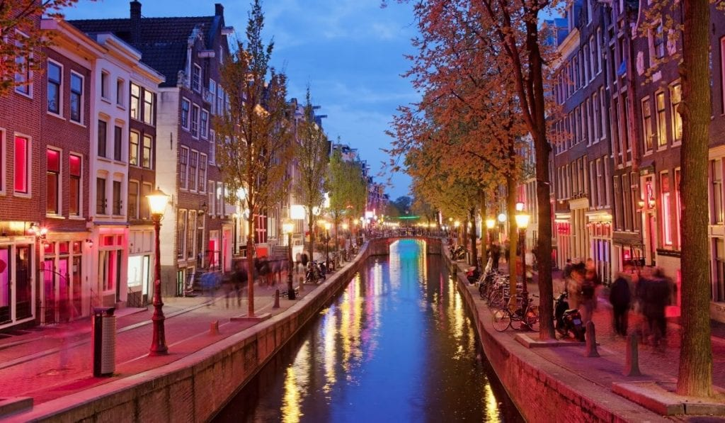 Amsterdam's infamous Red Light District, where the Museum of Prostitution is located.