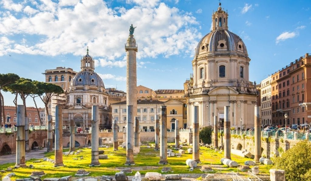 Trajan forum in Rome, Italy on a bright, sunny day.