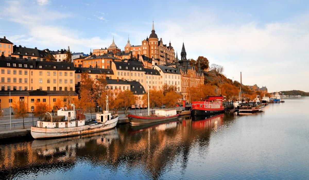 Boats docked alongside the outskirts of Stockholm, Sweden.