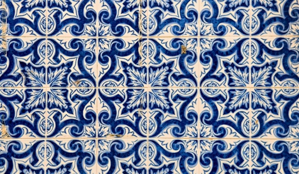 Close-up of the iconic blue and white azulejos in Portugal