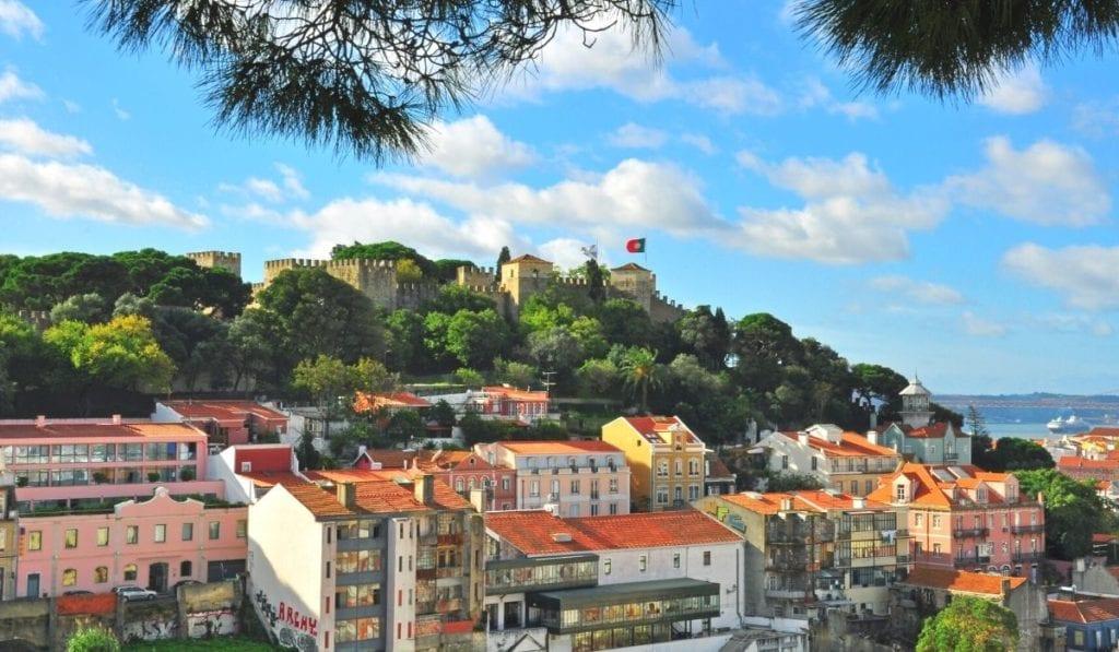Castelo de Sao Jorge seem from afar in Lisbon, Portugal.
