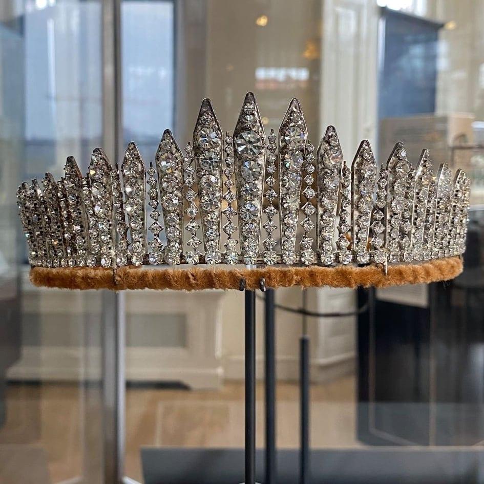 Bridal tiara of Queen Elizabeth II in the Diamant Museum in Amsterdam.